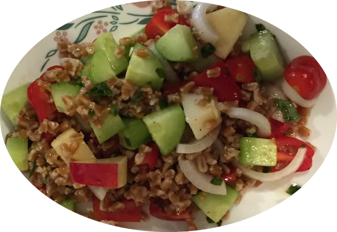 2016-04-16 Farro salad with cuke, grape tomato, Vidalia, apple, & lemon basil dressing
