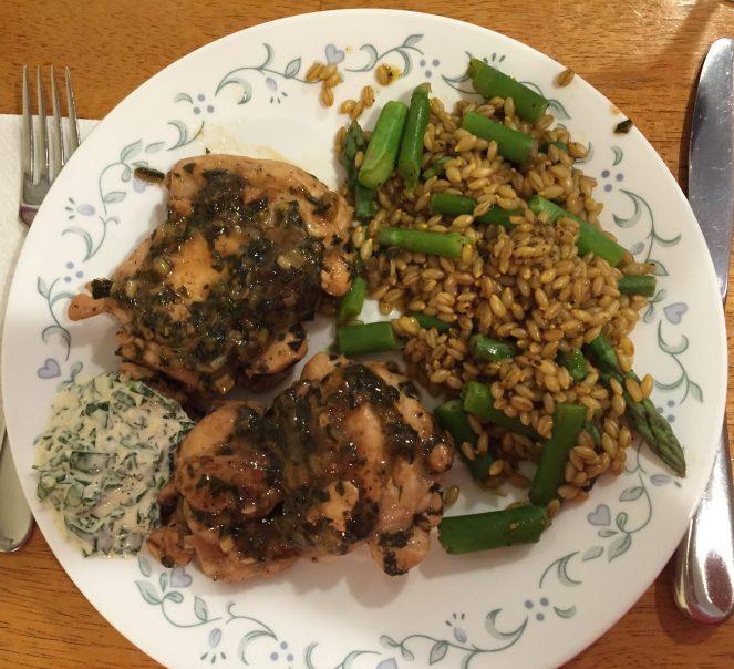 Lemon-Basil Chicken With Basil Aioli; Black Pepper Barley With Asparagus & Saffron