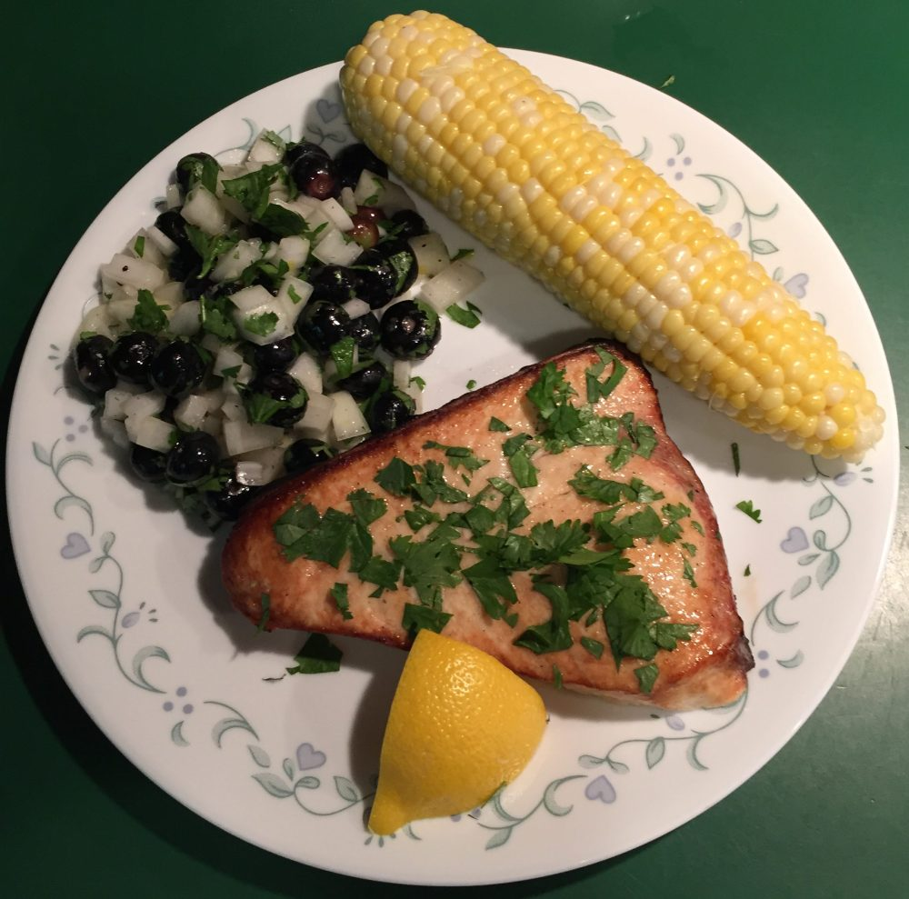 Planked Swordfish With Blueberry Jazz
