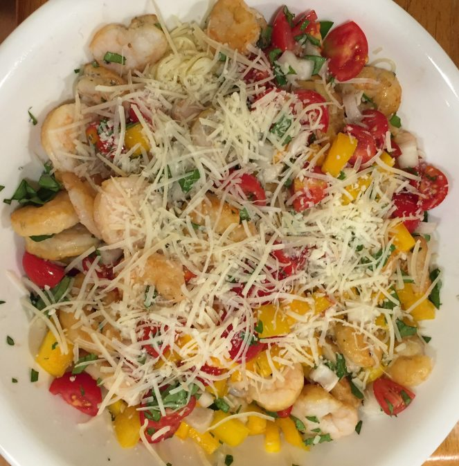 Plank grilled shrimp w summer veggies & pasta serve