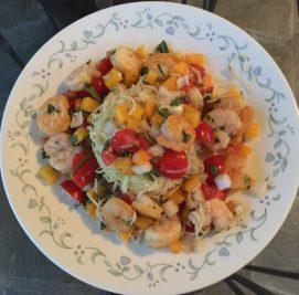 Plank grilled shrimp w summer veggies & pasta