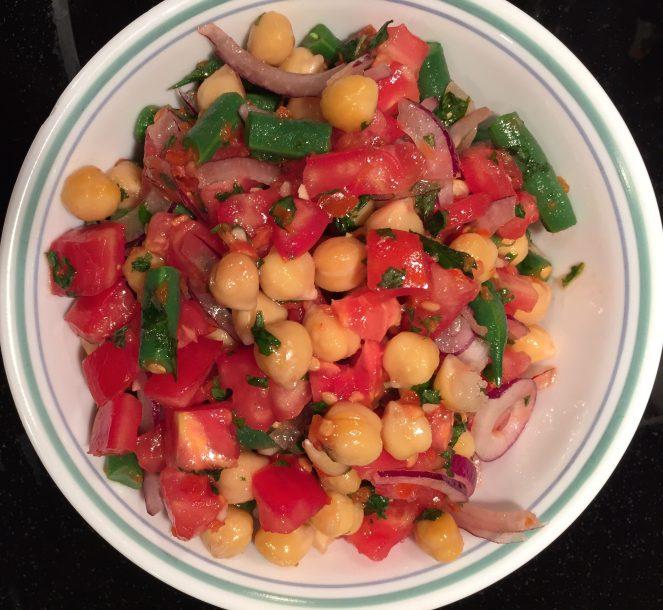 Minty Chick Pea, Green Bean, & Tomato Salad