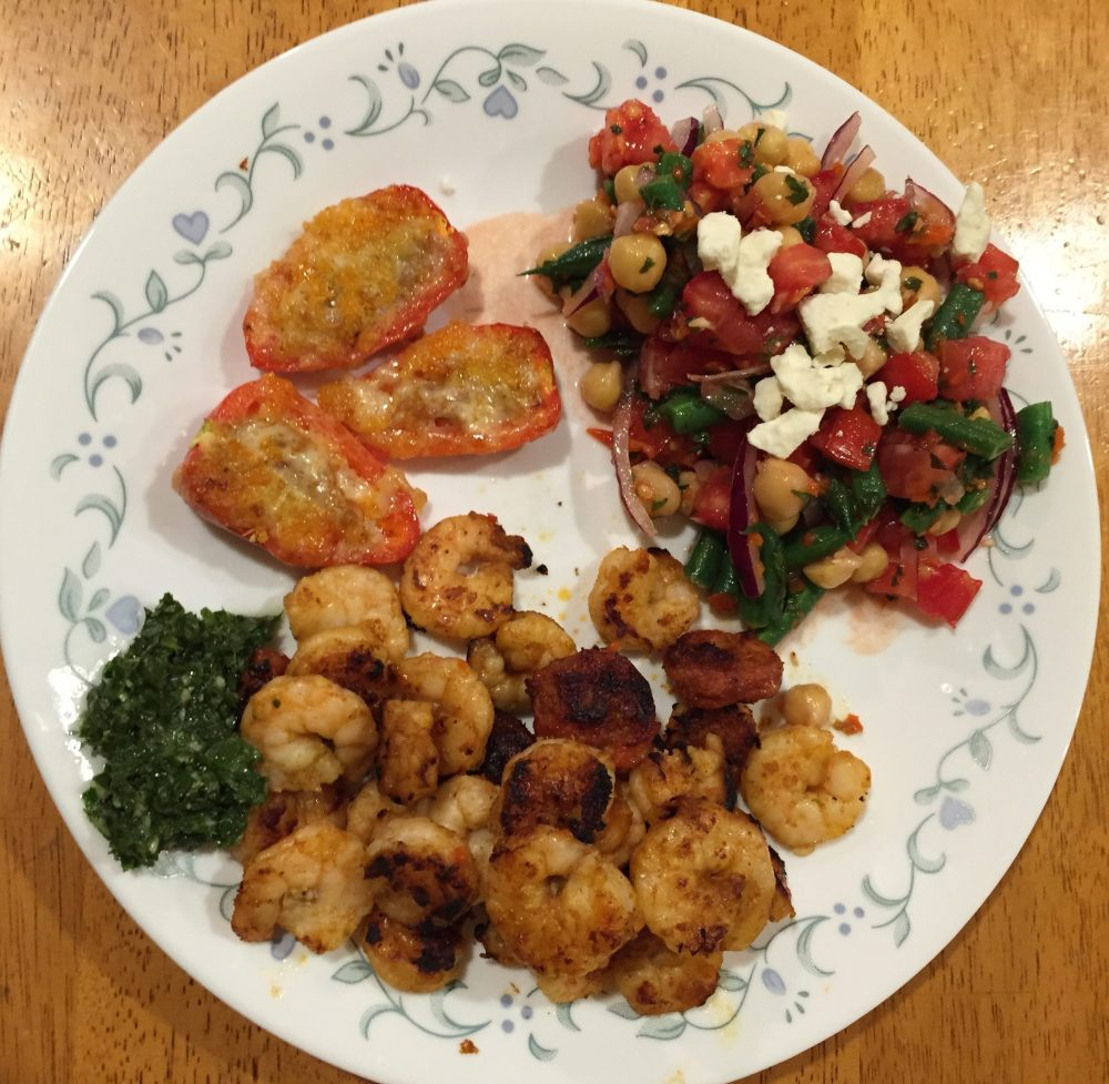 Chipotle-Mint Shrimp With Chorizo, Chorizo-Stuffed Jalapeños, Minty Chick Pea, Green Bean, & Tomato Salad