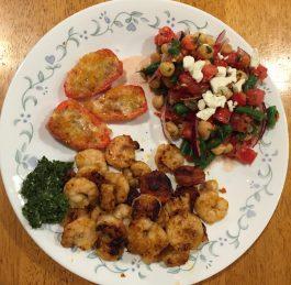 Chipotle-Mint Shrimp With Chorizo, Chorizo-Stuffed Jalapeños, Minty Chick Pea, Green Bean, & Tomato Salad