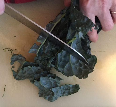 cut kale crosswise