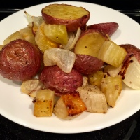 Golden Beets Roasted With Spuds & Onions