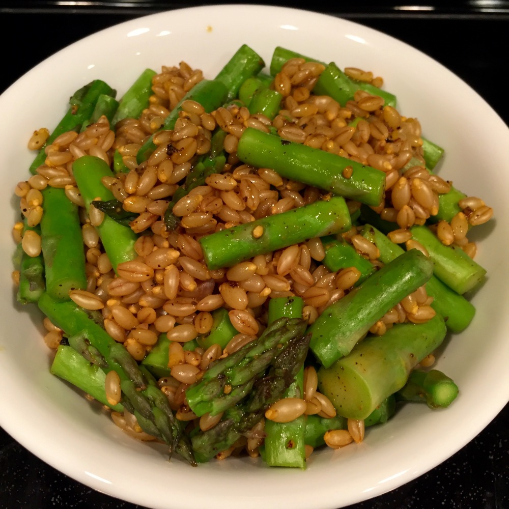 Black Pepper-Saffron Barley With Asparagus