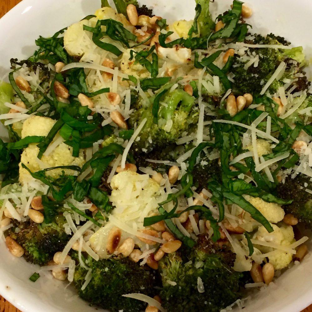 Roasted Broccoli & Cauliflower Parmesan