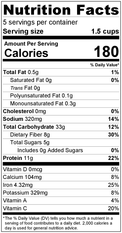 Dal IP NutritionLabel