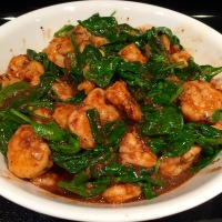 Sichuan Style Shrimp with Spinach
