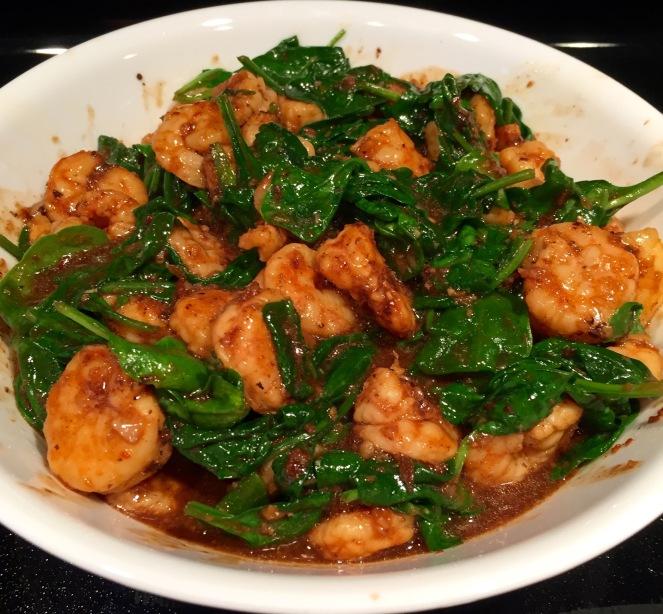 Szechuan Shrimp With Spinach