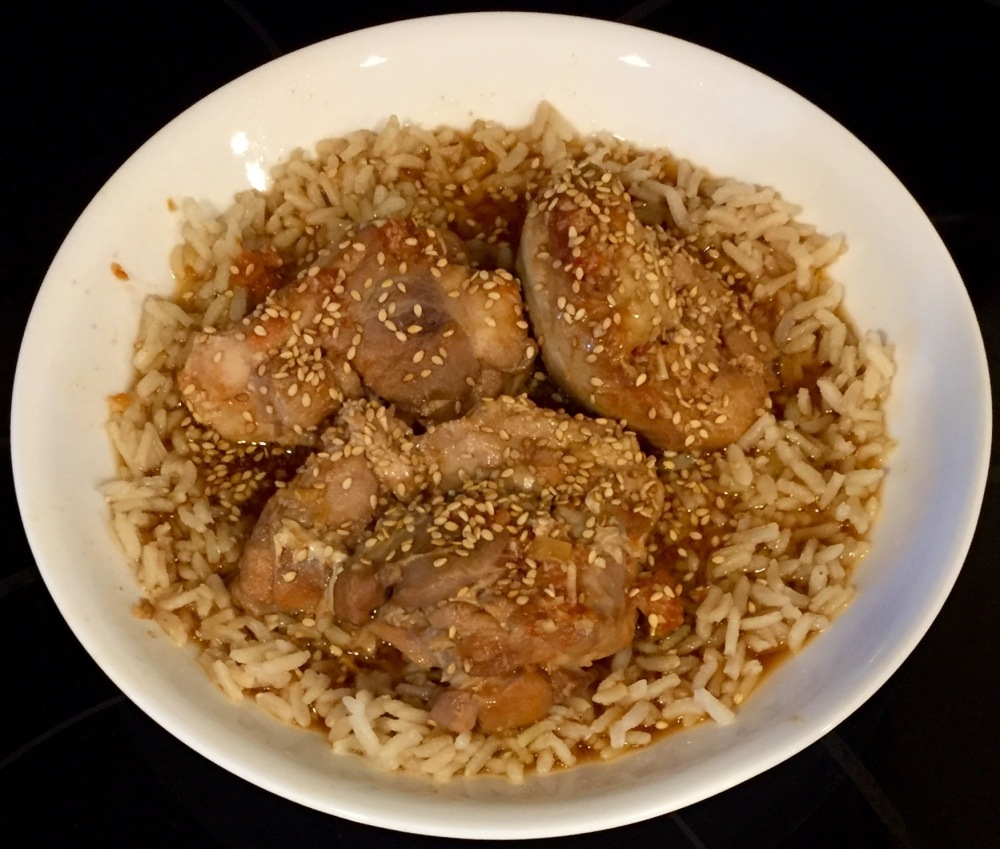 Sesame-Soy Chicken Thighs With Rice