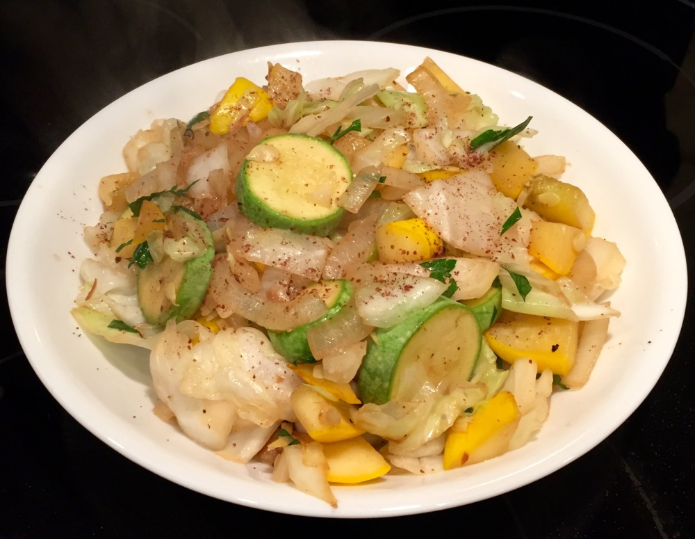 Galangal Sauteed Summer Squash With Cabbage