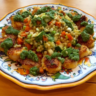 Cornmeal-Crusted Scallops with Mint Chimichurri & Couscous Pilaf