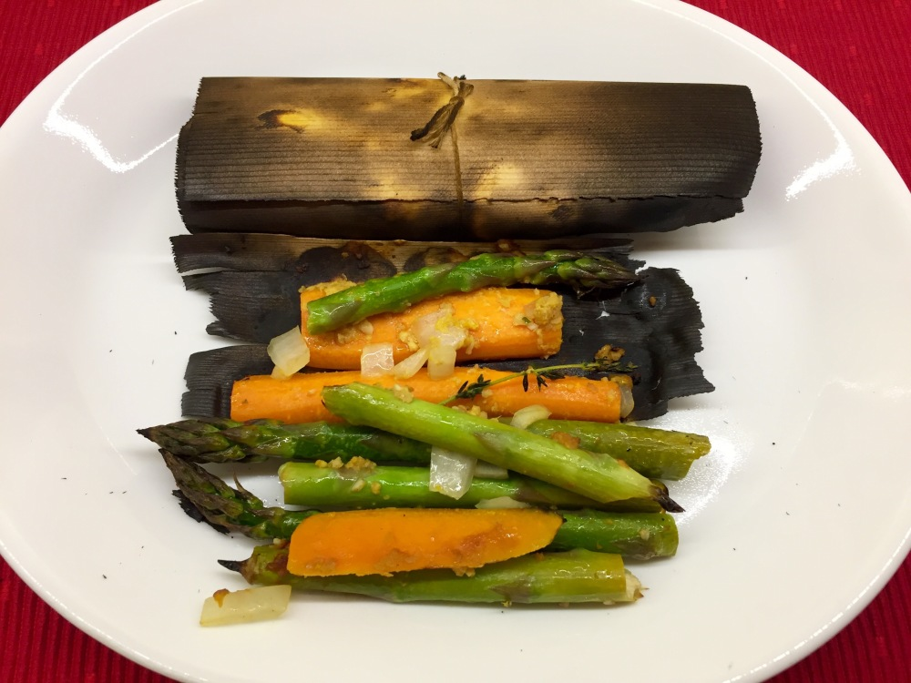 Cedar-Wrapped Asparagus With Carrots