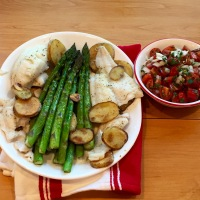 Halibut, Asparagus, & Potatoes With Cherry Tomato Salsa