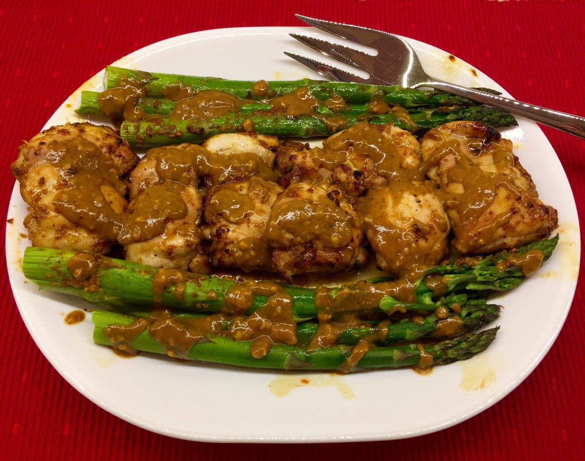Tamari-Ginger Chicken With Asparagus and Almond Sauce