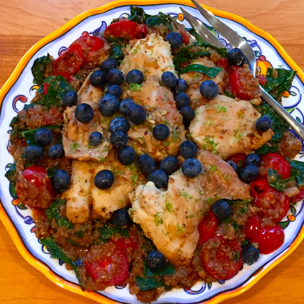 Blueberry Balsamic Chicken With Bulgur, Tomatoes, and Kale