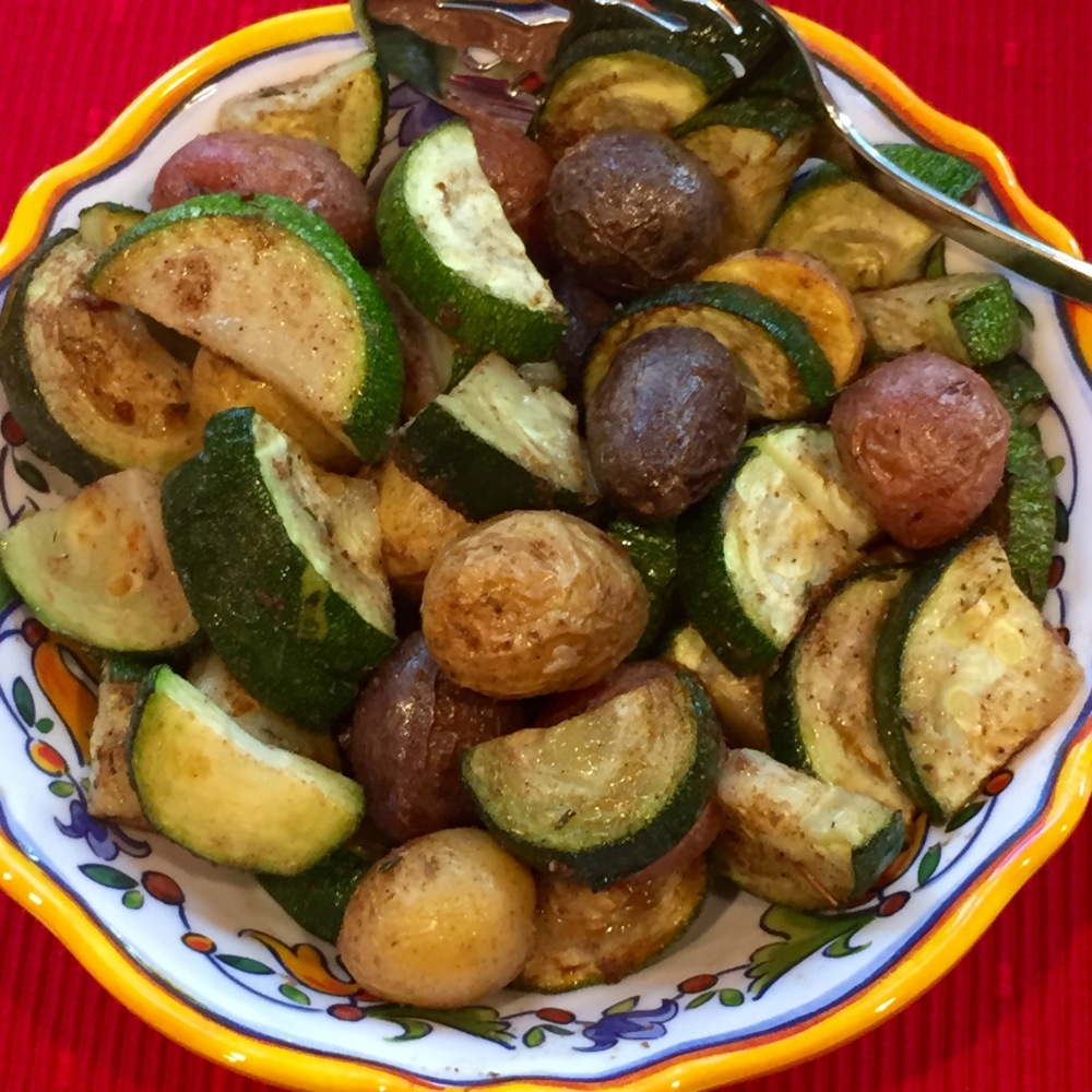 Roaosted Zucchini and Baby Potatoes With Caribbean Seasoning