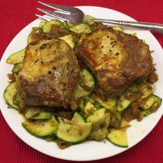 Oregano Pork Chops With Zucchini & Caramelized Onions